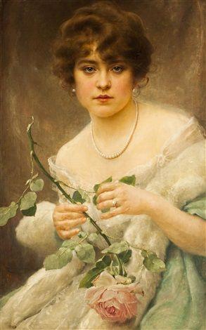 Dame mit Rosen by Frantisek Dvorak