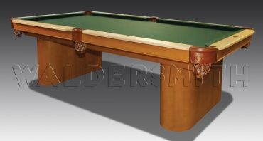 8ft Capri American Pool Table - The distinctive look of the Capri table is embodied in a finely moulded construction, emphasising both the smooth curves and the monolithic pillar legs that are the most striking feature of the table. A maple hardwood and rich honey stain finish further complements the quite considerable style of the Capri.