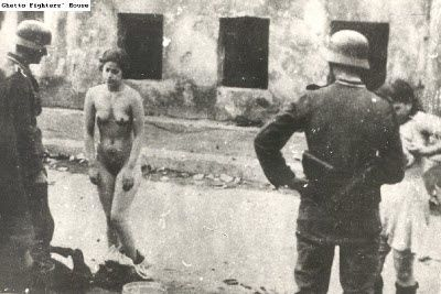 Humiliation of women who surrendered after the end of the Warsaw Ghetto Uprising.