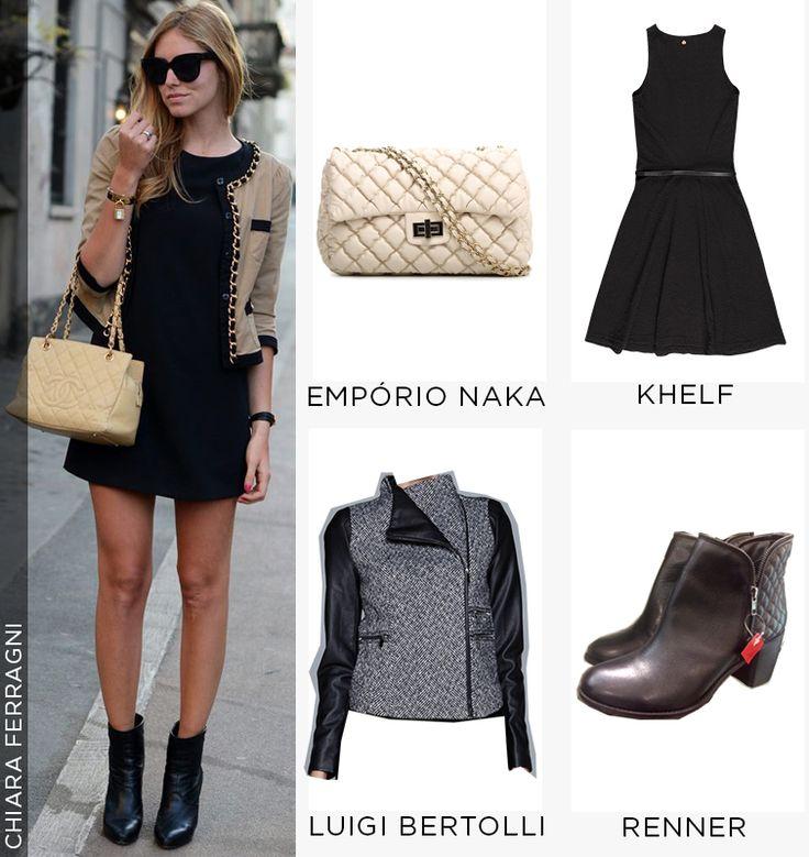 chiara ferragni com look ankle boot. Versão mias barata do look e estilosa! Vestido preto + bota cano curto preta + jaqueta + bolsa matelassê
