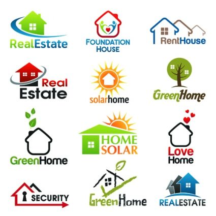 12 kind real estate logos free vector