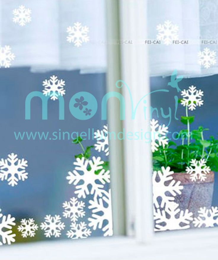 Copos de nieve vinilo adhesivo para vidrio decoraci n for Adhesivos neveras decoracion