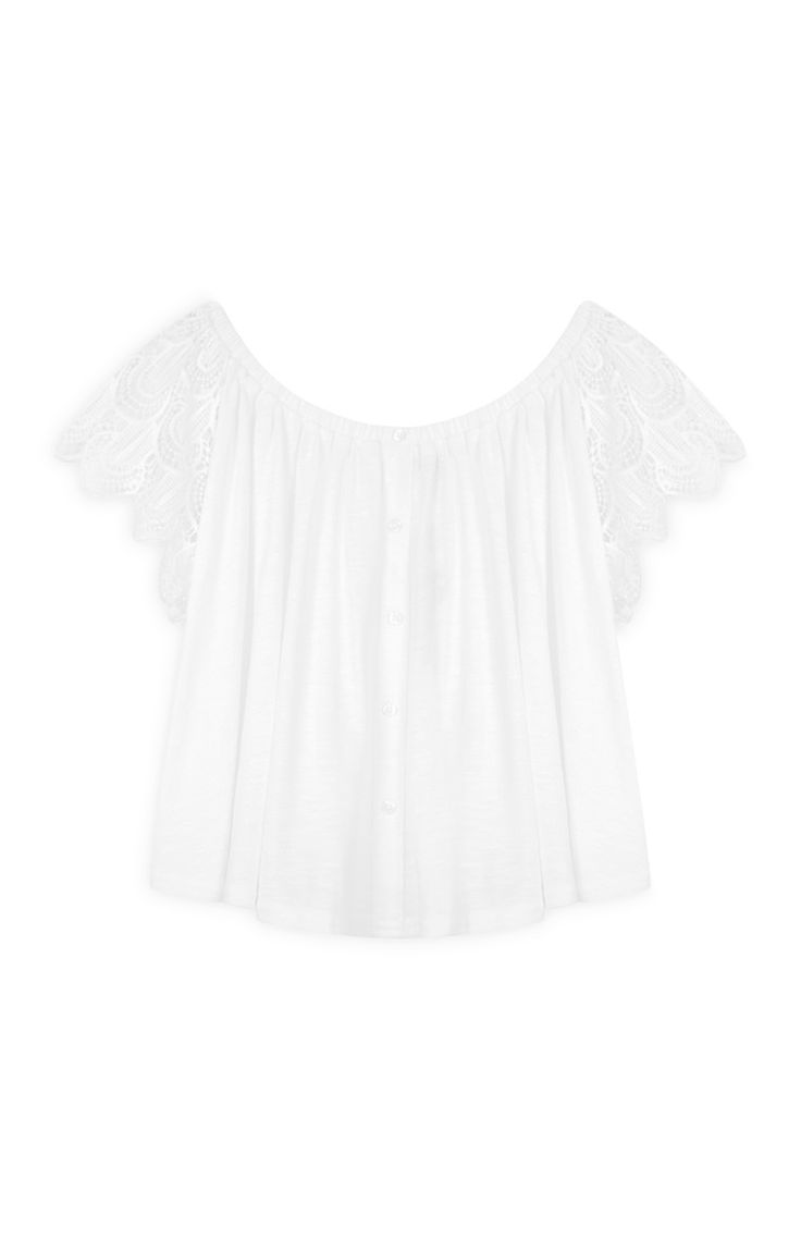 Primark - Blusa bianca all'uncinetto con volant