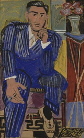 """Ο Σκεπτόμενος 1936 Xρωστικές σκόνες με ζωική κόλλα σε χαρτί, 139,2 x 87,4 εκ. Aρ. ευρ. 6   """"Το έργο αυτό αντιπροσωπεύει το καταστάλαγμα της ζωγραφικής στο οποίο θέλουν να φθάσουν οι ζωγράφοι αποφεύγοντας την προοπτική. Ο τίτλος «Στοχαστής» ή «Σκεπτόμενος», που δόθηκε κάπως ειρωνικά στο ταπεινό αυτό έργο μου, έχει ένα αντίθετο αίσθημα απ' τον «Σκεπτόμενο» του Ροντέν, που ανήκει σ' έναν άλλο κόσμο. Όσο προχωρούσα στην τεχνοτροπία αυτή έβλεπα το δίκιο και το άδικο των συμφωνούντων καί…"""