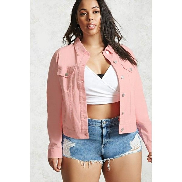 Forever21 Plus Size Denim Jacket ($22) ❤ liked on Polyvore featuring plus size women's fashion, plus size clothing, plus size outerwear, plus size jackets, pink, forever 21 jackets, jean jacket, pink jean jacket, denim jacket and pink jacket