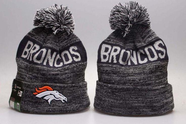Men's / Women's Denver Broncos New Era NFL Sideline Sports Knit Pom Pom Beanie Hat - Grey / Navy