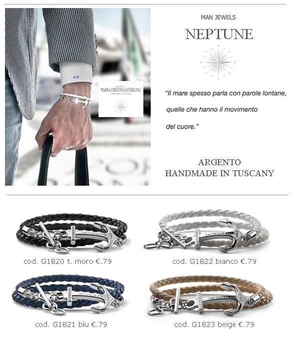 Maria Cristina Sterling gioielli moda bracciali NEPTUNE UOMO argento made in Italy