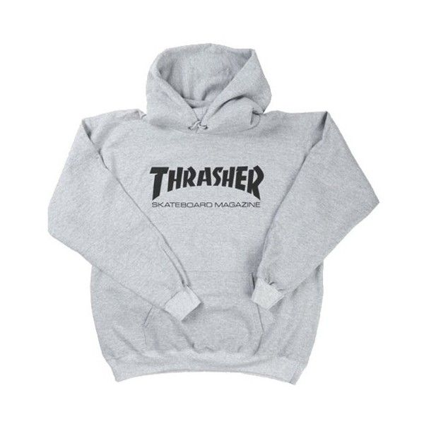 Thrasher Skate Mag Pullover Hood Heather Grey ($74) ❤ liked on Polyvore featuring tops, sweaters, sweatshirt, hooded top, pullover tops, sweater pullover and hooded pullover