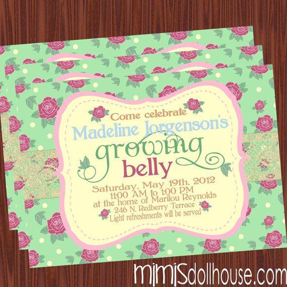 Garden Theme Baby Shower Invitations Vintage Garden