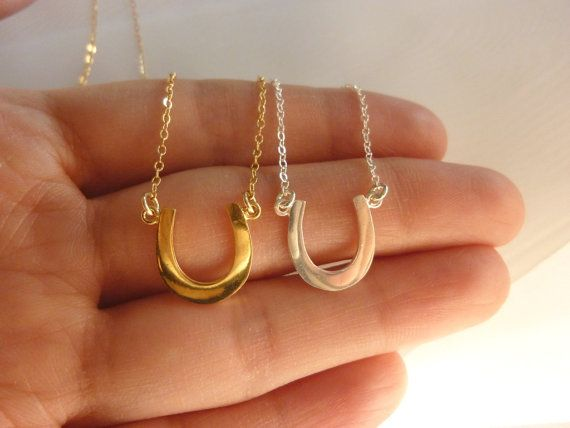 horseshoe necklace-gold horseshoe necklace-sterling by MomentusNY