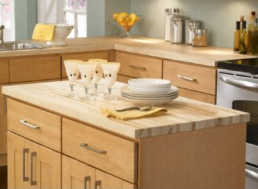 """1 1/2"""" x25"""" x 8 lft Maple Butcher Block Countertop $259 (split piece for laundry sink cabinet and for kitchen island?) Seal with Sealed with Minwax Water-based Polycrylic - food safe?"""