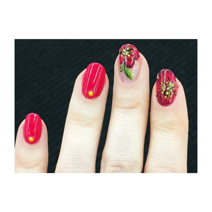 24JAN2015 Another look at my very first flowers. Hand painted using nail polish.