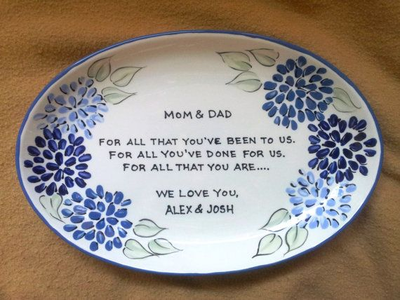 Wedding Gift for Parents Plate Floral oval by BrushStrokePlates, $58.00