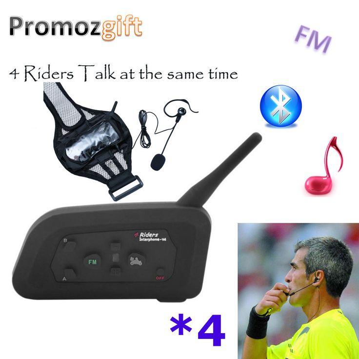 4 V4 Soccer Football Bike Bicycle Riding Referee Intercom Bluetooth Headset Walkie Talkie BT Interphone Intercomunicador #Soccer, #Football, #Bike, #Bicycle, #Riding, #Referee, #Intercom, #Bluetooth, #Headset, #Walkie, #Talkie, #Interphone, #Intercomunicador