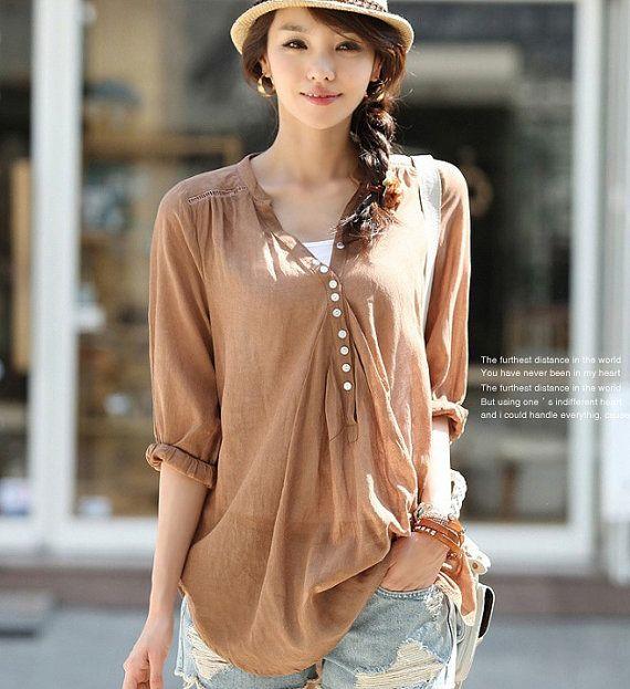 Silk-Linen Loose Womens Short Sleeves Shirt Chic Tops Womens Blouse Leisure Shirt