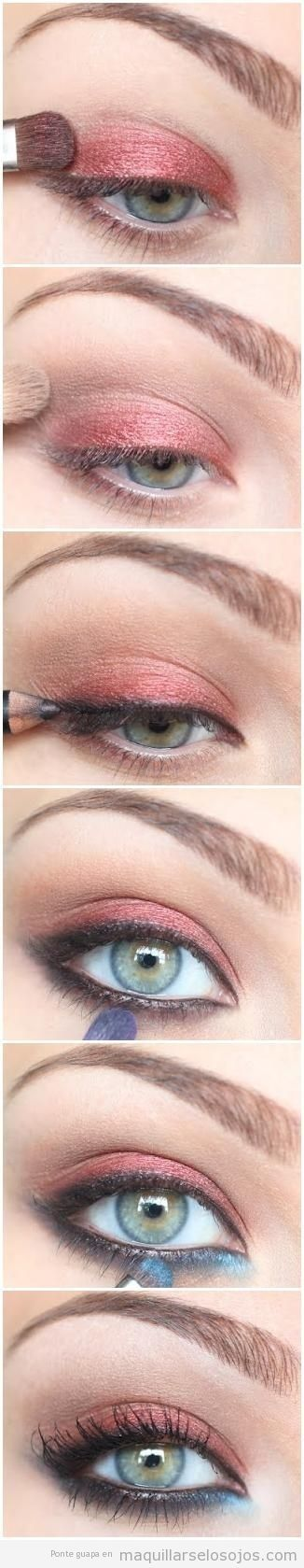 Summer nights eye makeup. Perfect for a beachy look with a smoky twist and pop of color.