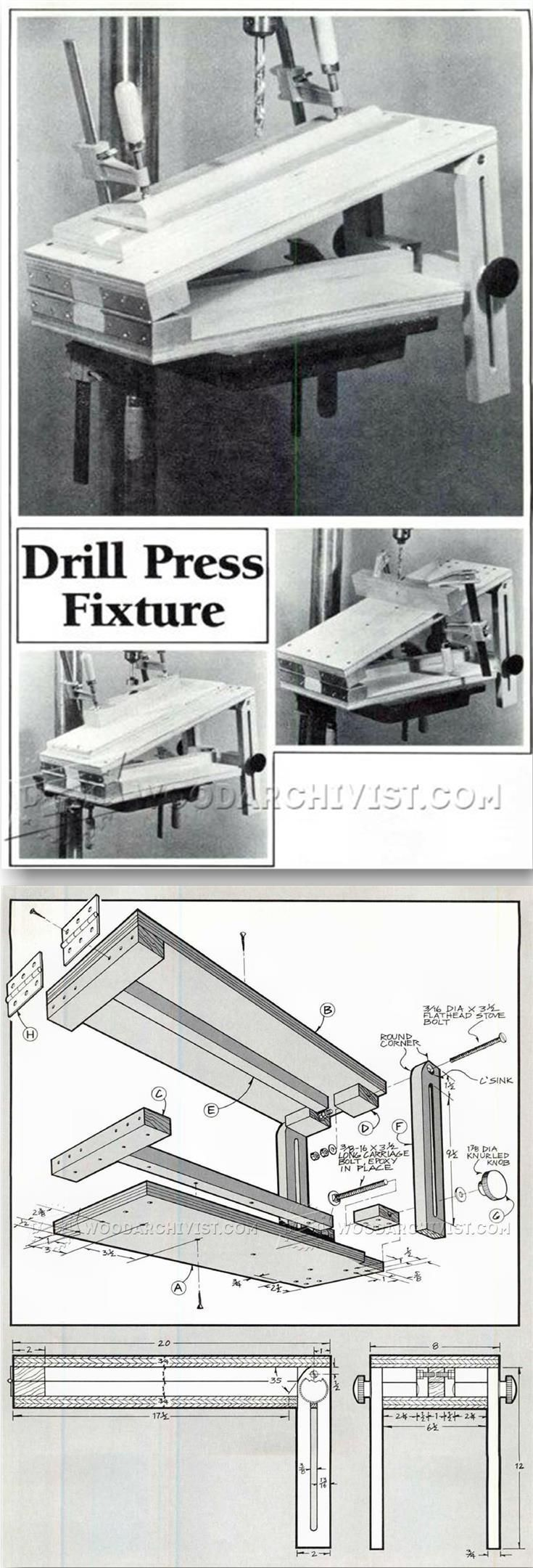 Drill Press Tilt Table Plans - Drill Press Tips, Jigs and Fixtures | WoodArchivist.com