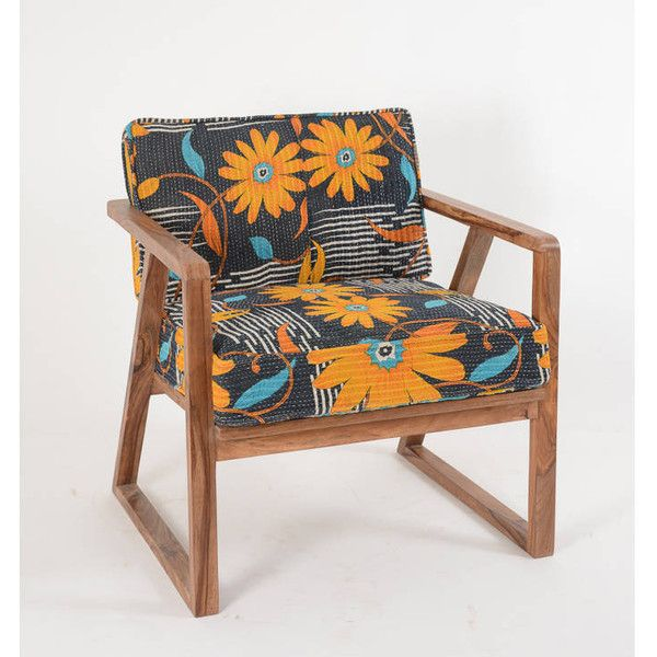 The Comfi Cottage Fairtrade Kanthawork Bohemian 50's Style Armchair (€615) ❤ liked on Polyvore featuring home, furniture, chairs, accent chairs, sheesham furniture and sheesham wood furniture