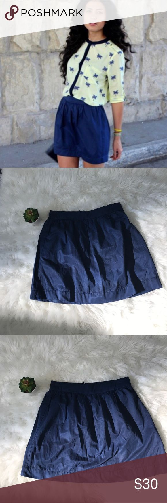 "ASOS Stradivarius Women's Navy Blue Mini Skirt-XS Adorable chiffon Navy blue pleat top A-line skirt. Mini length (mid-thigh) zip at back-XS  📍 in good condition- no stains or rips! Smoke feee home  Measurements laying flat  Waist-13"" Length-16"" ASOS Skirts"