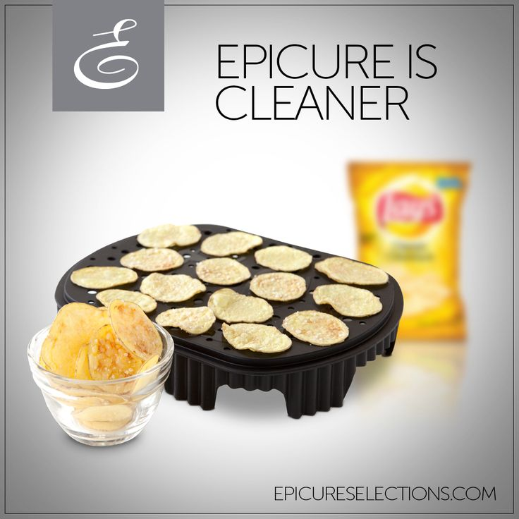 Enjoy FAT-FREE snacking with Epicure's Chipster – and only 130 calories per potato! A handful of store-bought potato chips contains as much fat as 3 single-serve butter packets. Devoured the whole bag? You just ate the equivalent of 15 single-serve butter packets! #glutenfree