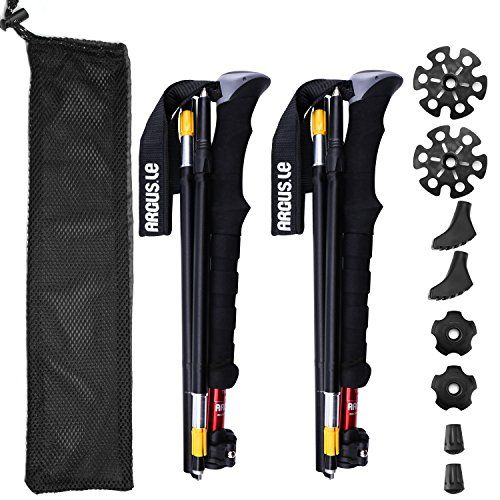 Argus Le Collapsible Trekking Poles-Compact, Hiking Climbing Walking Sticks Trail Poles with Sweat Absorbing EVA Grips,Tungsten Tips,Flip Locks,4 Season/All Terrain Accessories and Carry Bag. For product & price info go to:  https://all4hiking.com/products/argus-le-collapsible-trekking-poles-compact-hiking-climbing-walking-sticks-trail-poles-with-sweat-absorbing-eva-gripstungsten-tipsflip-locks4-season-all-terrain-accessories-and-carry-bag/