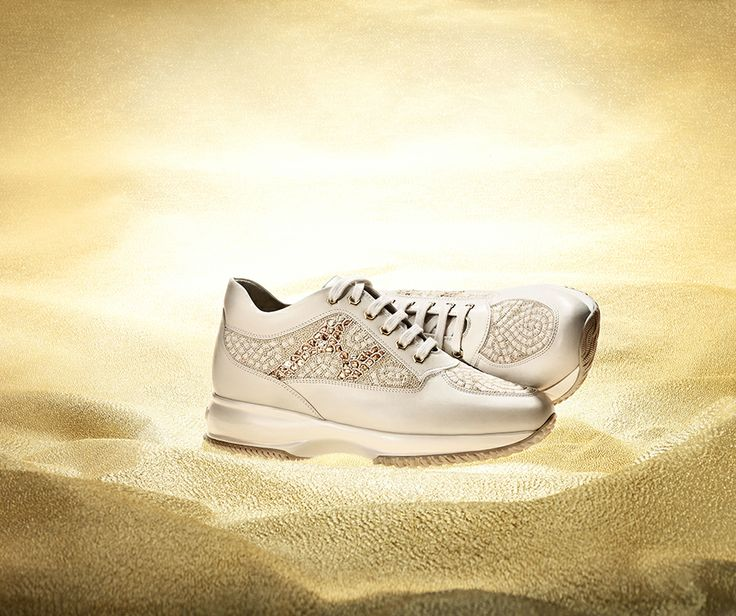 #HOGAN ATELIER Interactive SURYA: couture shoe with mosaic decoration in micro-pearls and sequins.  Discover embroidered luxury.