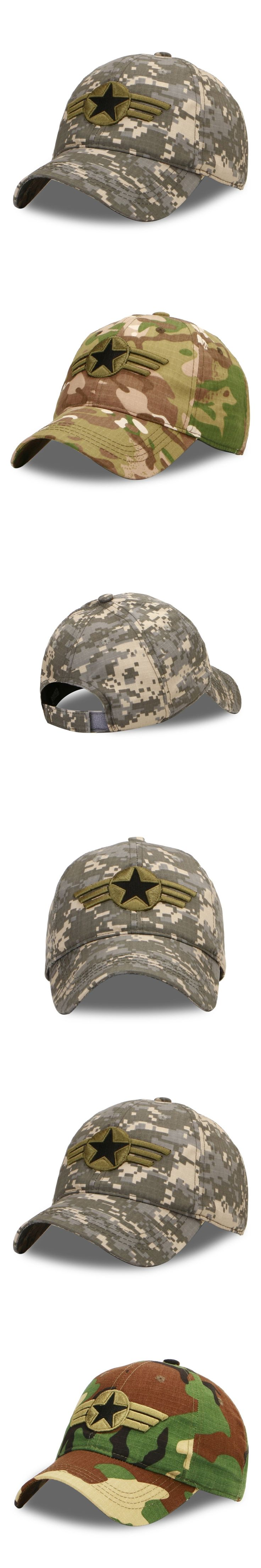 Cool Arm Soldier Fans camouflage with embroided star badge baseball cap snapback Hat for men women Travel Hiking Camping Sun Cap