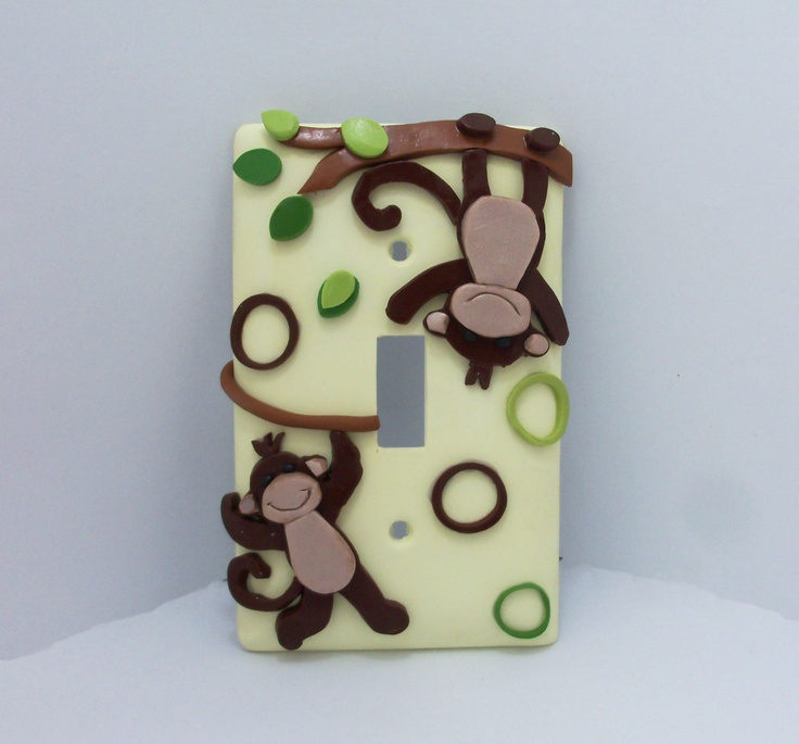 Monkey Light Switch Cover Jungle Toddlers By Thimbletowne Polymer