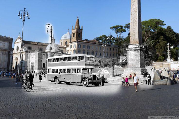 Un autobus a due piani fa bella mostra a Piazza del Popolo.
