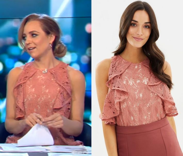 by Kirsty0 Comments Carrie Bickmore wears this orange lace ruffle sleeveless blouse in this episode of The Project on Tuesday the 14th of November 2017. It is the Cooper St Monaco Top. Buy it HERE for $129.9