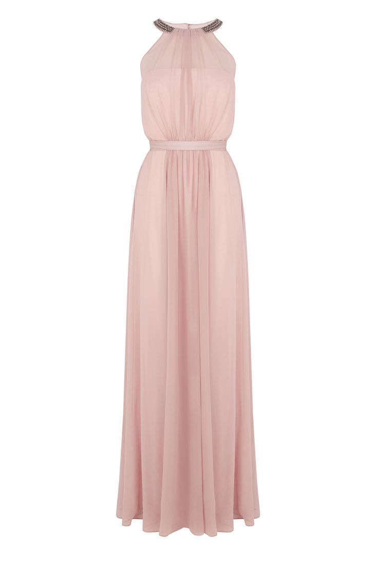 The Fernanda maxi dress is a beautiful piece perfect for your special events. The embellished halter neck accentuates this piece whilst the cinched in waist tie creates an enviable silhouette. Gentle pleats from the boned bodice and waist send cascading movement through the skirt for effortless movement. This dress is fully lined for ultimate comfort and is 130cm /51 inches in length from underarm to hem. Height of model shown: 5ft 9inches/175cm. Model wears: UK 10.