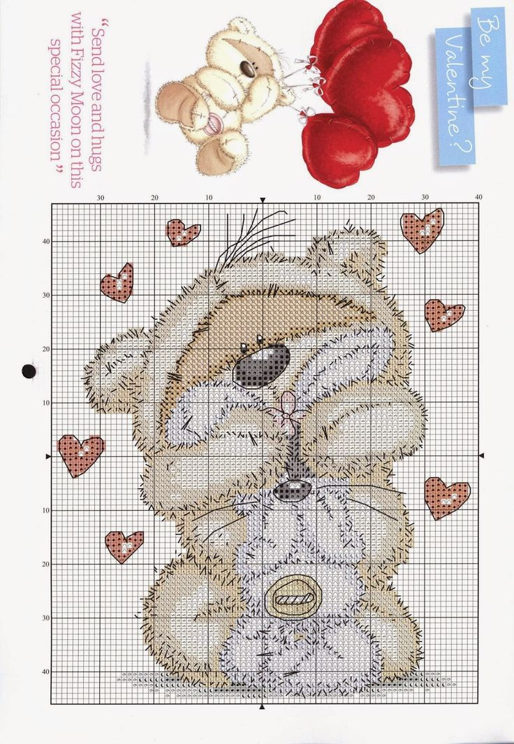 Cross Stitch Craze: Fizzy Moon Bear - Free Patterns - Valentines Day