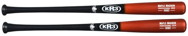 KR3 Maple Magnum was created from a desire to carry to make real professional bats for ball players within all levels of baseball. Todays Youth, High School, College, Independent, Semi-Pro and Adult Leagues have access to over 100 years of Pro Bat making skills and in house secrets. KR3 Continues to research bat shape and materials to place the best bat in baseball players hands, manufacturing 100% of their wood bats in Canada from the finest quality maple, yellow birch, hickory available.