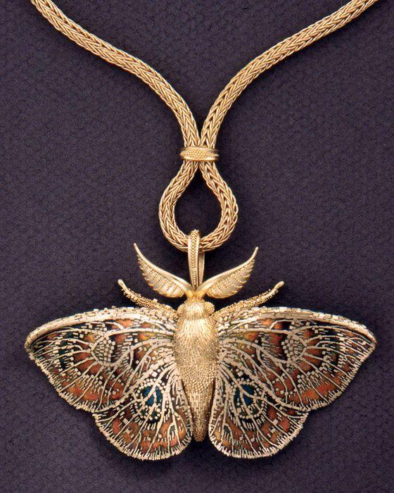 Moth Pendant Brooch, 1994. John Paul Miller (American, b. 1918). Gold, enamel. Collection of Barbara S. Robinson © John Paul Miller. Credit: Cleveland Museum of Art.