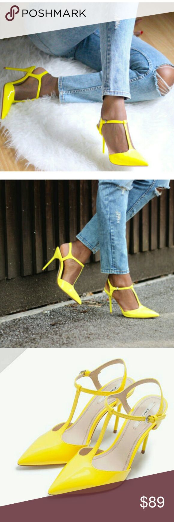 ZARA NEON YELLOW HIGH HEEL SHOES BRAND NEW ZARA NEON YELLOW HIGH HEEL SHOES BRAND NEW Zara Shoes Heels