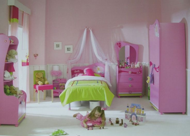 Kids Room: Shabby Pink And Green Kids Bedroom Furnitures For Girls On White Ceramic Floor Plus White Canopy Curtains: Cute and Delightful Fu...