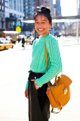 [FW12 New York Fashion Week] Margaret Zhou, student and blogger: love the mint Acne sweater