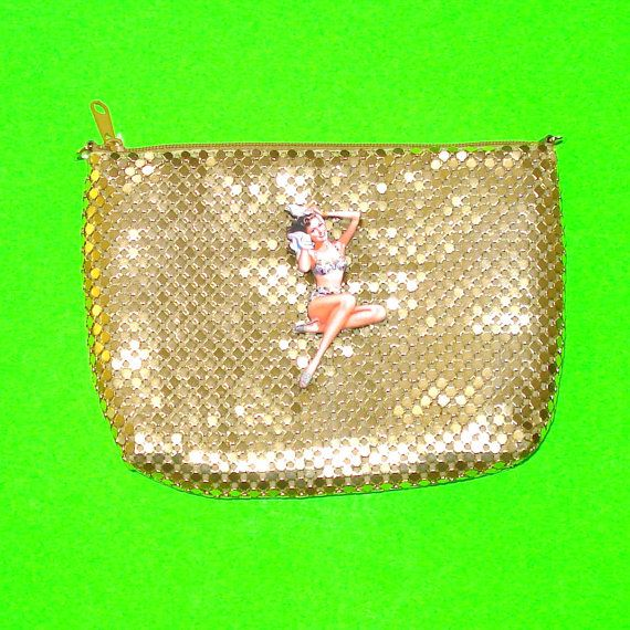 Pinup Girl Clutch https://www.etsy.com/ca/listing/279816436/pinup-girl-bathing-gold-metal-mesh-retro