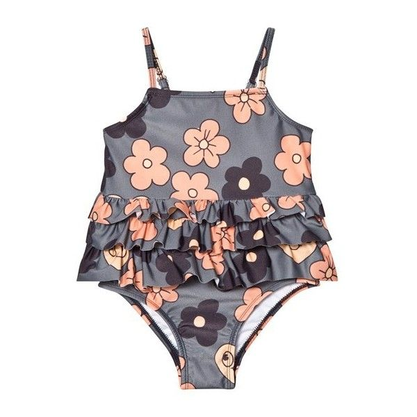 Mini Rodini Flower Frill Swimsuit Grey ($48) ❤ liked on Polyvore featuring swimwear, swim costume, swimming costume, frilly bathing suit, ruffle bathing suit and bathing suit swimwear