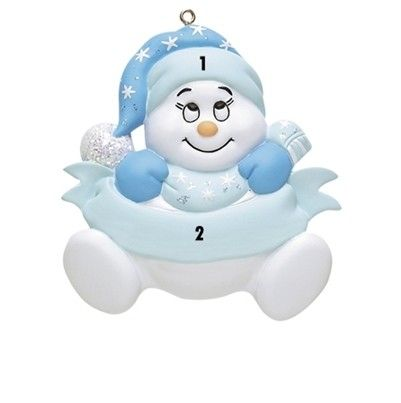 Little Boy Blue Snowman Personalized Ornament