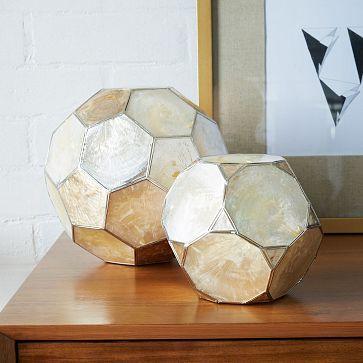 """Capiz Spheres #westelm Small: 5""""diam. x 4.5""""h. Large: 8""""diam. x 7.5"""". $24-$39"""