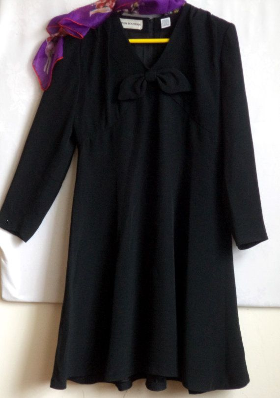 90s Stunning Black Dress Nipon Couture Black by MushkaVintage3