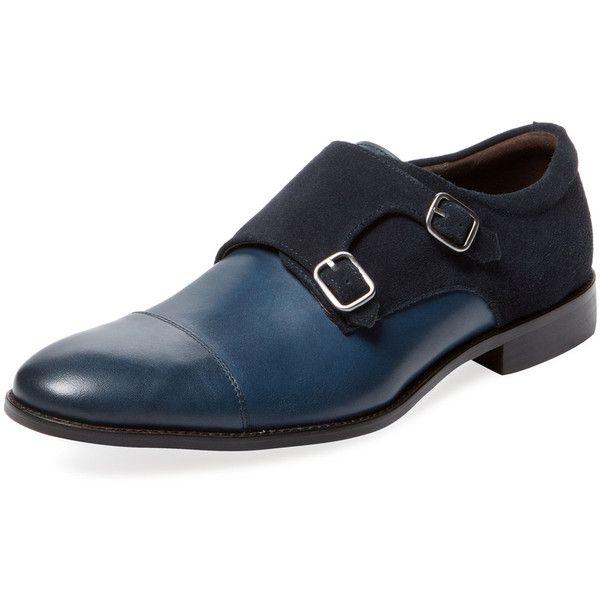 Millburn Co. Millburn Co. Men's Cap Toe Double Monkstrap - Dark... (16595 RSD) ❤ liked on Polyvore featuring men's fashion, men's shoes, men's dress shoes, mens buckle dress shoes, mens buckle shoes, mens shoes, mens navy blue dress shoes and mens leather dress shoes