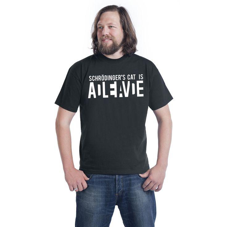 """Classica T-Shirt uomo nera """"Schrödinger's Cat Is Alive""""."""