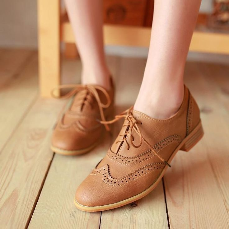 Retro Flat Womens Vintage Lace-Up England Brogue Casual Oxfords Shoes Size 10.5