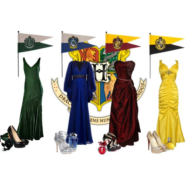 Hogwarts houses by kerry6590 on Polyvore featuring PacificPlex, Andrew Gn, Oscar de la Renta, Christian Louboutin,…