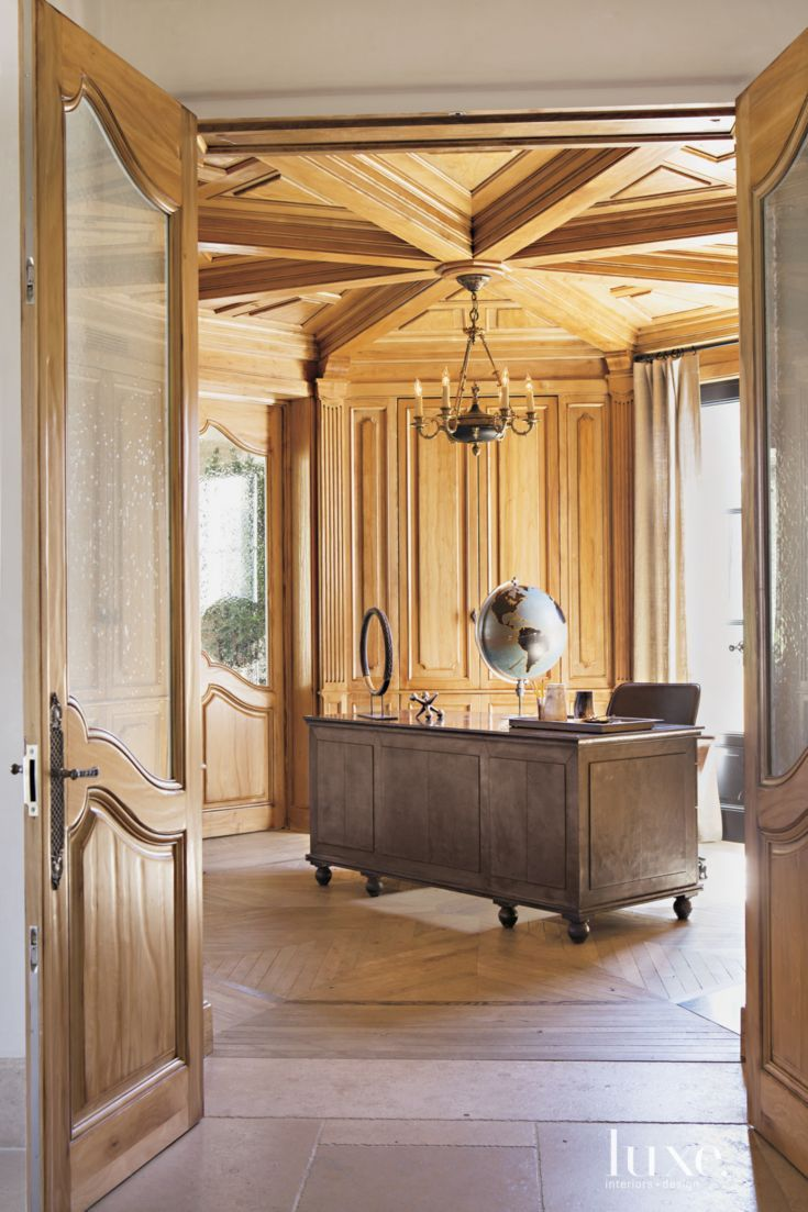 Wood Paneled Office: A Crate & Barrel Chair Pairs With A Restoration Hardware