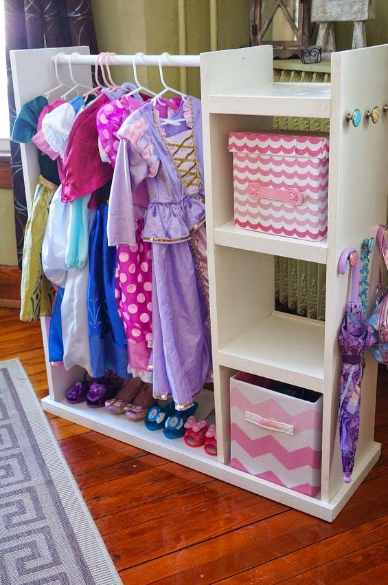 DIY Dress Up Storage Cart with room for dresses, shoes, and accessories!
