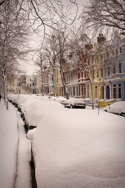 Notting Hill street in the Snow, London