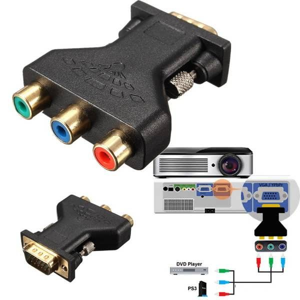 3 RCA RGB Video Female To HD15-Pin VGA Component Video Jack Adapter        Features: 1. Great for passing the RGB, RGsB, RsGsBs or component YPbPr video and sync signal through a D-sub 15-pin VGA connector. 2. Integrated interference resistant ferrite cores for improved signal isolation and...